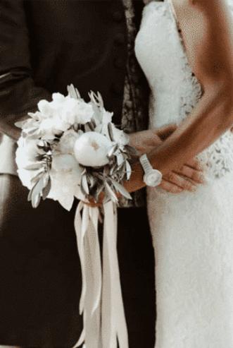 Bouquet de mariée - fleurs blanches