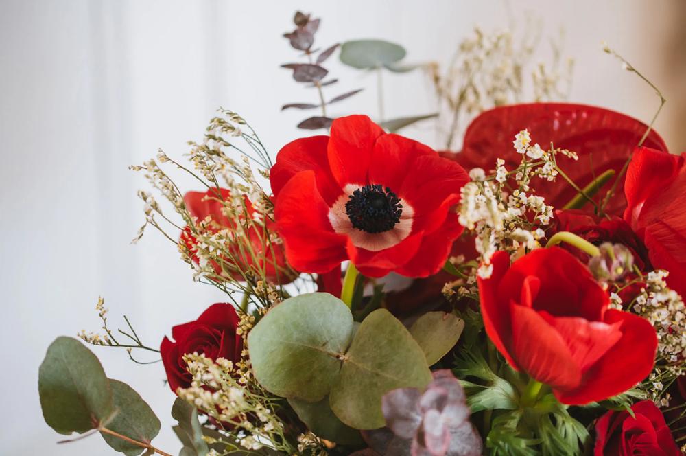fleurs rouge mariage bouquet