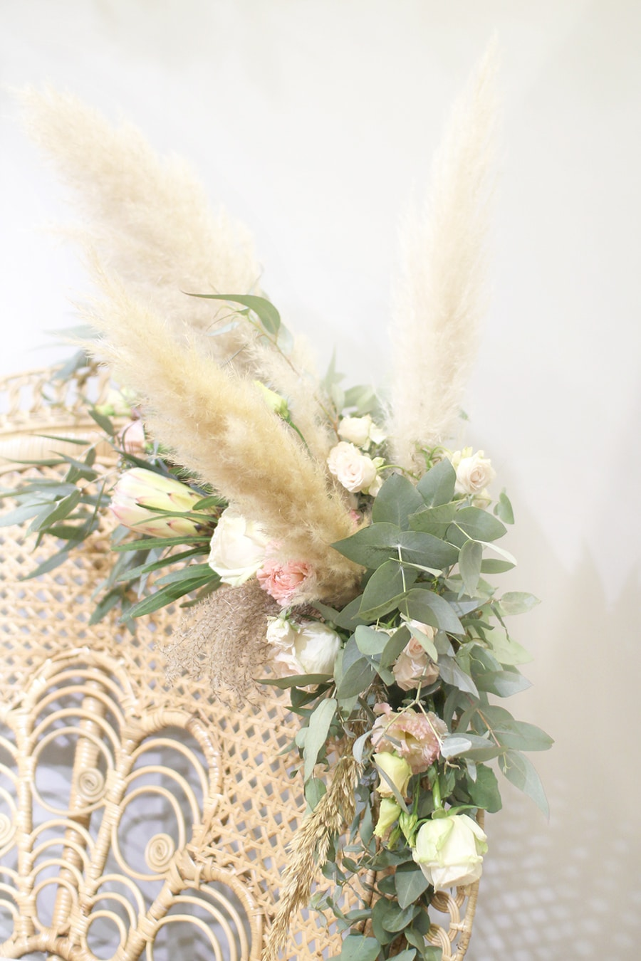 rotin et pampa mariage fleurs séchées