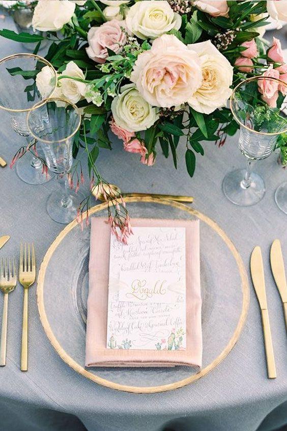 décoration de table de mariage chic rose