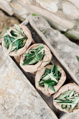 alternative confettis mariage feuille olivier