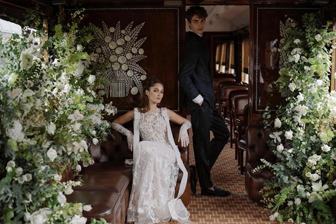 Un mariage luxe à bord de l'Orient Express, shooting éditorial organisé par Atout Coeur Wedding