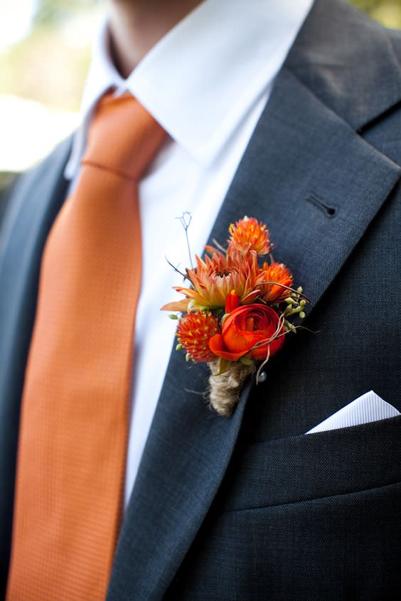 wedding dry flowers inspiration orange palette